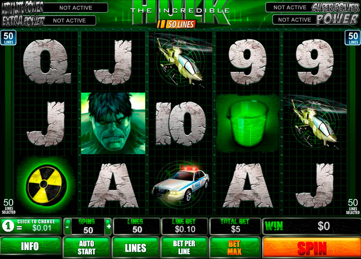 the incredible hulk 50 lines playtech игровой автомат